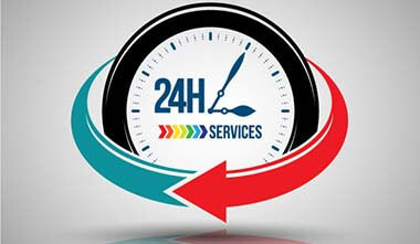 24 hours services banner. Vector illustration.